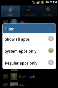 The filtering options
